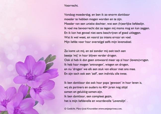 Gedicht Moeder Voorrecht Emjeeprivee